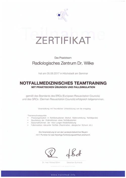 Zertifikat Notfallmanagement
