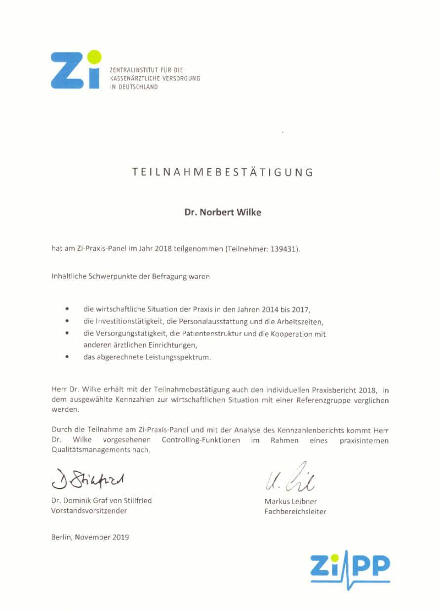 Zi-Praxis-Panel Teilnahmebestätigung